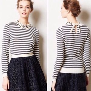 MOTH Anthropologie sweater striped bejeweled M
